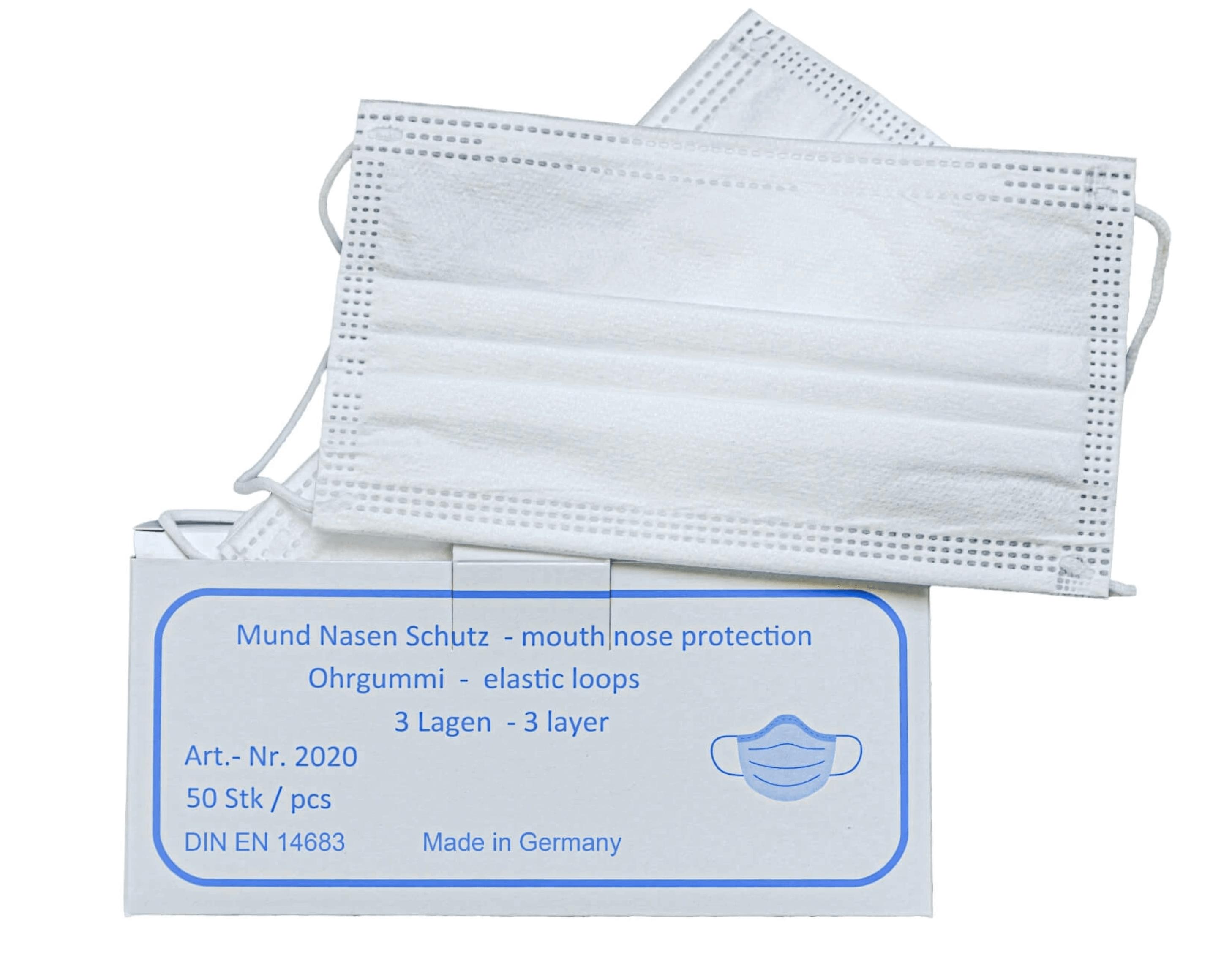 Einwegmasken aus Vliesstoff made in Germany - geprüft nach DIN EN 14683 Typ II
