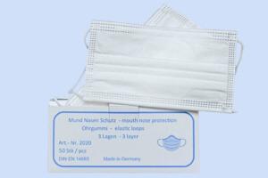 Mundschutz aus Vliesstoff made in Germany - geprüft nach DIN EN 14683 Typ II